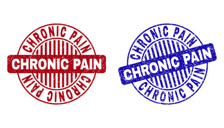 Grunge CHRONIC PAIN round stamp seals isolated on a white background. Round seals with distress texture in red and blue colors. Ilustrace