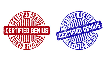 Grunge CERTIFIED GENIUS round stamp seals isolated on a white background. Round seals with grunge texture in red and blue colors.