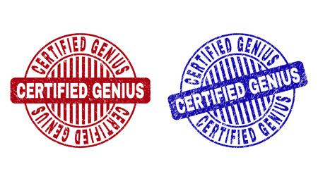 Grunge CERTIFIED GENIUS Runde Stempelsiegel isoliert auf weißem Hintergrund. Runde Dichtungen mit Grunge-Textur in roten und blauen Farben.