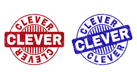 Grunge CLEVER round stamp seals isolated on a white background. Round seals with grunge texture in red and blue colors. Vector rubber overlay of CLEVER caption inside circle form with stripes.