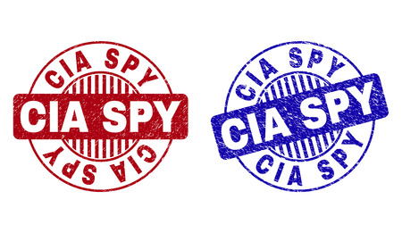 Grunge CIA SPY round stamp seals isolated on a white background. Round seals with grunge texture in red and blue colors. Vector rubber imprint of CIA SPY label inside circle form with stripes. Ilustração