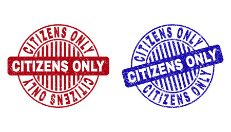 Grunge CITIZENS ONLY round stamps isolated on a white background. Round seals with grunge texture in red and blue colors. Vector rubber imprint of CITIZENS ONLY text inside circle form with stripes. Çizim