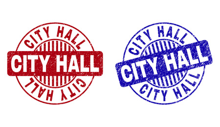 Grunge CITY HALL round stamp seals isolated on a white background. Round seals with grunge texture in red and blue colors. Vector rubber overlay of CITY HALL title inside circle form with stripes.