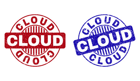 Grunge CLOUD round stamp seals isolated on a white background. Round seals with grunge texture in red and blue colors. Vector rubber watermark of CLOUD tag inside circle form with stripes.