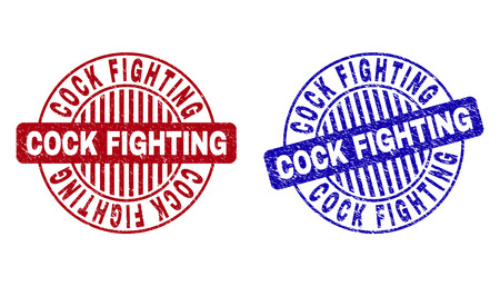 Grunge COCK FIGHTING round stamp seals isolated on a white background. Round seals with grunge texture in red and blue colors.