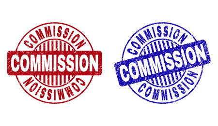 Grunge COMMISSION round stamp seals isolated on a white background. Round seals with grunge texture in red and blue colors. Vector rubber watermark of COMMISSION label inside circle form with stripes.