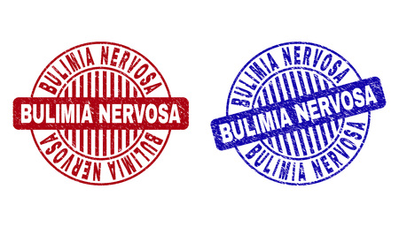 Grunge BULIMIA NERVOSA round stamp seals isolated on a white background. Round seals with grunge texture in red and blue colors.