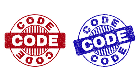 Grunge CODE round stamp seals isolated on a white background. Round seals with grunge texture in red and blue colors. Vector rubber overlay of CODE caption inside circle form with stripes.