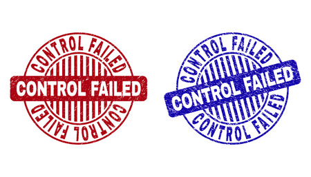 Grunge CONTROL FAILED round stamp seals isolated on a white background. Round seals with grunge texture in red and blue colors.