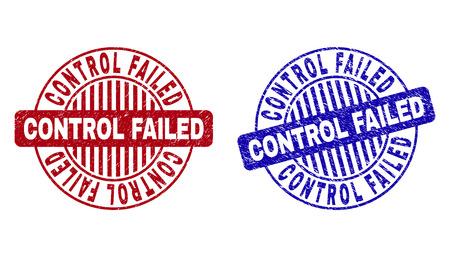 Le contrôle grunge a échoué les joints de timbre ronds isolés sur un fond blanc. Joints ronds avec texture grunge dans les couleurs rouge et bleu.
