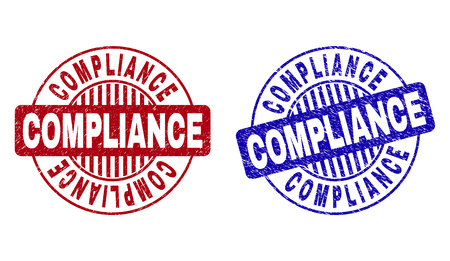 Grunge COMPLIANCE round stamp seals isolated on a white background. Round seals with grunge texture in red and blue colors. Vector rubber imitation of COMPLIANCE label inside circle form with stripes. 일러스트