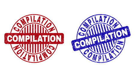 Grunge COMPILATION round stamp seals isolated on a white background. Round seals with grunge texture in red and blue colors. Vector rubber imprint of COMPILATION tag inside circle form with stripes.