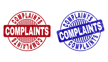 Grunge COMPLAINTS round stamp seals isolated on a white background. Round seals with grunge texture in red and blue colors.