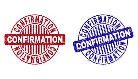Grunge CONFIRMATION round stamp seals isolated on a white background. Round seals with grunge texture in red and blue colors. 向量圖像