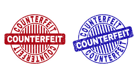 Grunge COUNTERFEIT round stamp seals isolated on a white background. Round seals with grunge texture in red and blue colors.