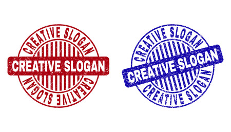 Grunge CREATIVE SLOGAN round stamp seals isolated on a white background. Round seals with grunge texture in red and blue colors. Illustration