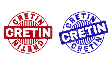 Grunge CRETIN round stamp seals isolated on a white background. Round seals with grunge texture in red and blue colors. Vector rubber imprint of CRETIN caption inside circle form with stripes.