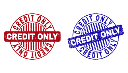 Grunge CREDIT ONLY round stamp seals isolated on a white background. Round seals with grunge texture in red and blue colors. Vector rubber imprint of CREDIT ONLY title inside circle form with stripes.