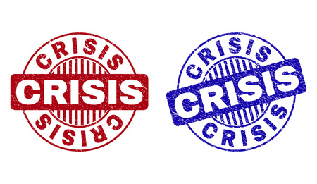 Grunge CRISIS round stamp seals isolated on a white background. Round seals with grunge texture in red and blue colors. Vector rubber imprint of CRISIS title inside circle form with stripes. Imagens - 120666052