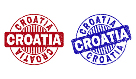 Grunge CROATIA round stamp seals isolated on a white background. Round seals with grunge texture in red and blue colors. Vector rubber overlay of CROATIA tag inside circle form with stripes.
