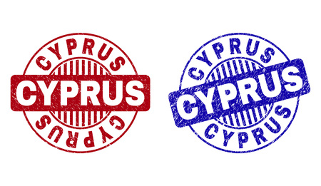 Grunge CYPRUS round stamp seals isolated on a white background. Round seals with distress texture in red and blue colors. Vector rubber overlay of CYPRUS caption inside circle form with stripes. Vettoriali