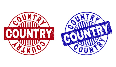 Grunge COUNTRY round stamp seals isolated on a white background. Round seals with grunge texture in red and blue colors. Vector rubber overlay of COUNTRY caption inside circle form with stripes.