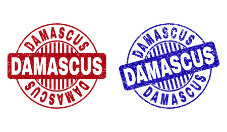 Grunge DAMASCUS round stamp seals isolated on a white background. Round seals with grunge texture in red and blue colors. Vector rubber watermark of DAMASCUS tag inside circle form with stripes.