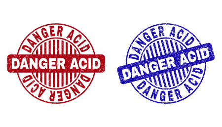 Grunge DANGER ACID round stamp seals isolated on a white background. Round seals with grunge texture in red and blue colors. Vector rubber imprint of DANGER ACID tag inside circle form with stripes.