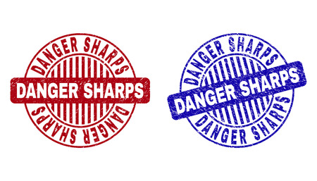 Grunge DANGER SHARPS round stamp seals isolated on a white background. Round seals with grunge texture in red and blue colors.