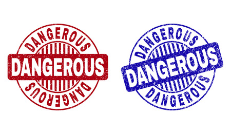 Grunge DANGEROUS round stamp seals isolated on a white background. Round seals with grunge texture in red and blue colors. Vector rubber imprint of DANGEROUS text inside circle form with stripes. 向量圖像