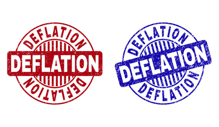 Grunge DEFLATION round stamp seals isolated on a white background. Round seals with grunge texture in red and blue colors. Vector rubber imprint of DEFLATION caption inside circle form with stripes.