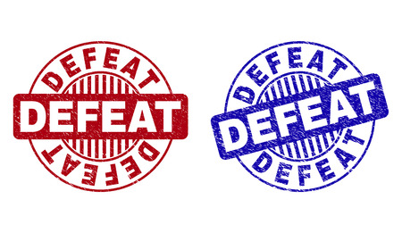 Grunge DEFEAT round stamp seals isolated on a white background. Round seals with grunge texture in red and blue colors. Vector rubber imprint of DEFEAT text inside circle form with stripes. 向量圖像