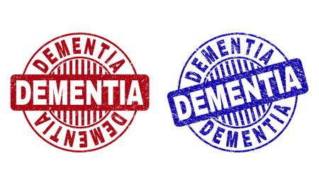 Grunge DEMENTIA round stamp seals isolated on a white background. Round seals with grunge texture in red and blue colors. Vector rubber overlay of DEMENTIA label inside circle form with stripes.