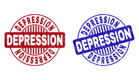 Grunge DEPRESSION round stamp seals isolated on a white background. Round seals with distress texture in red and blue colors.