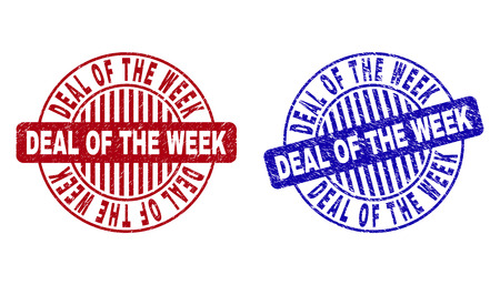 Grunge DEAL OF THE WEEK round stamp seals isolated on a white background. Round seals with distress texture in red and blue colors.