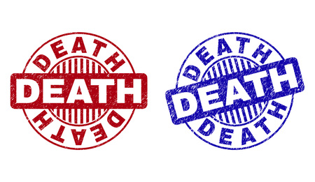 Grunge DEATH round stamp seals isolated on a white background. Round seals with grunge texture in red and blue colors. Vector rubber overlay of DEATH tag inside circle form with stripes. Illustration