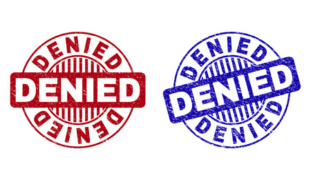 Grunge DENIED round stamp seals isolated on a white background. Round seals with grunge texture in red and blue colors. Vector rubber imprint of DENIED text inside circle form with stripes.