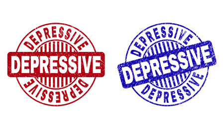 Grunge DEPRESSIVE round stamp seals isolated on a white background. Round seals with grunge texture in red and blue colors. Vector rubber imitation of DEPRESSIVE tag inside circle form with stripes.