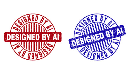 Grunge DESIGNED BY AI round stamp seals isolated on a white background. Round seals with grunge texture in red and blue colors.