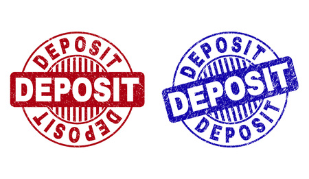 Grunge DEPOSIT round stamp seals isolated on a white background. Round seals with distress texture in red and blue colors. Vector rubber imitation of DEPOSIT title inside circle form with stripes. Illustration