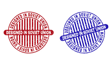 Grunge DESIGNED IN SOVIET UNION round stamp seals isolated on a white background. Round seals with distress texture in red and blue colors.
