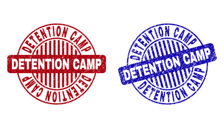 Grunge DETENTION CAMP round stamp seals isolated on a white background. Round seals with grunge texture in red and blue colors.