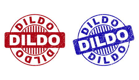 Grunge DILDO round stamps isolated on a white background. Round seals with grunge texture in red and blue colors. Vector rubber imprint of DILDO title inside circle form with stripes.
