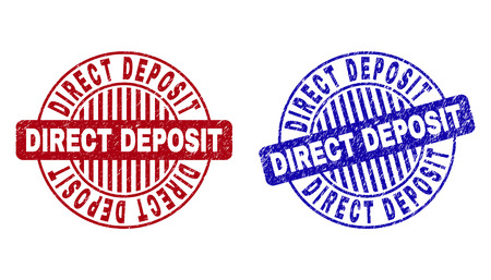 Grunge DIRECT DEPOSIT round stamps isolated on a white background. Round seals with distress texture in red and blue colors. Vektorové ilustrace