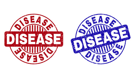 Grunge DISEASE round stamp seals isolated on a white background. Round seals with grunge texture in red and blue colors. Vector rubber watermark of DISEASE caption inside circle form with stripes. 向量圖像