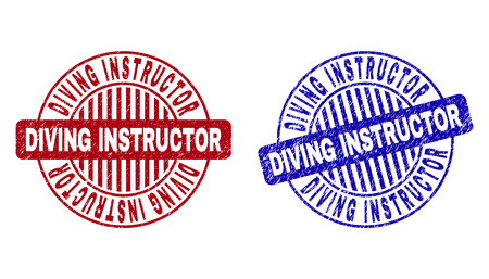 Grunge DIVING INSTRUCTOR round stamp seals isolated on a white background. Round seals with grunge texture in red and blue colors.