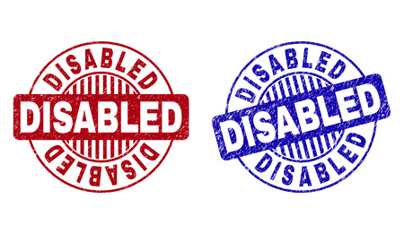 Grunge DISABLED round stamp seals isolated on a white background. Round seals with distress texture in red and blue colors. Vector rubber imitation of DISABLED title inside circle form with stripes.