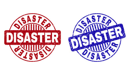Grunge DISASTER round stamp seals isolated on a white background. Round seals with grunge texture in red and blue colors. Vector rubber imitation of DISASTER title inside circle form with stripes.
