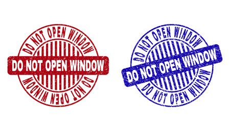 Grunge DO NOT OPEN WINDOW round stamp seals isolated on a white background. Round seals with grunge texture in red and blue colors.