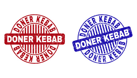 Grunge DONER KEBAB round stamp seals isolated on a white background. Round seals with grunge texture in red and blue colors. Vector rubber imprint of DONER KEBAB title inside circle form with stripes.